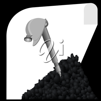 Miners helmet and tools for coal mining. Illustration on white background.