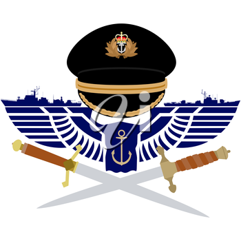 The icons of the Navy of Great Britain. The illustration on a white background.