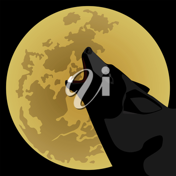 The wolf howls at night on the moon. The illustration on a black background.