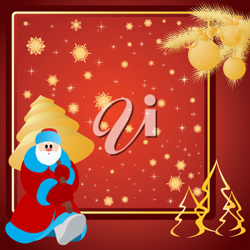 Santa Claus with Christmas tree, Christmas background.