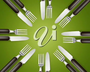 Royalty Free Photo of Eight Sets of Knives and Forks on a Green Background