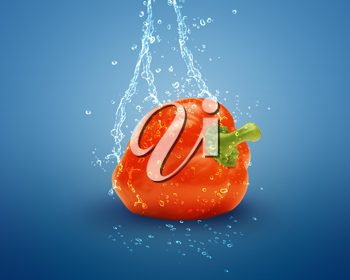 Royalty Free Photo of a Red Bell Pepper With Splashing Water on a Blue Background