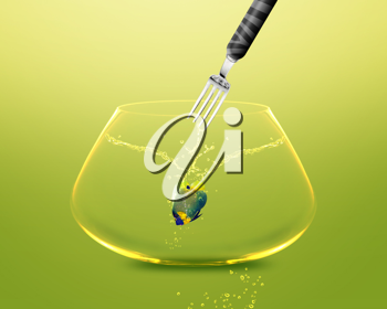 Royalty Free Photo of a Fork Catching an Angelfish