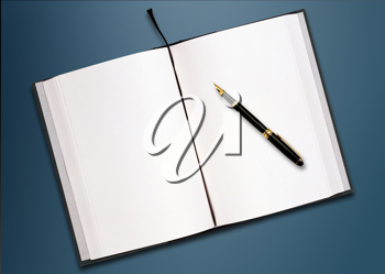 Royalty Free Photo of an Open Journal and a Pen