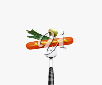 Royalty Free Photo of a Wiener With Mustard, Onion, and Green Olive Stuck on the End of a Fork
