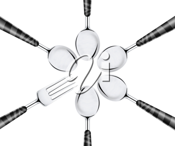 Royalty Free Photo of a Five Spoons and One Fork Facing Together To make a Circle