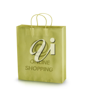Empty paper shopping bag with online shopping sign isolated on a white background.