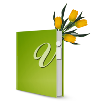 front view of Blank book cover green and tulip flowers.