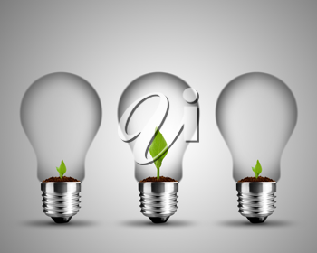 light bulb made from and small plant inside, light bulb conceptual Image.
