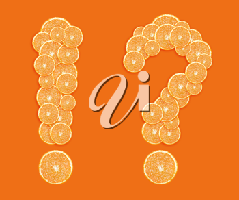 orange slices formed question and exclamation mark.