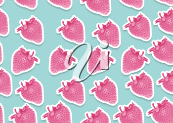 seamless background of strawberry, 70th style.
