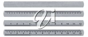 metal ruler isolated over a white background  with clipping path. (with clipping work path)