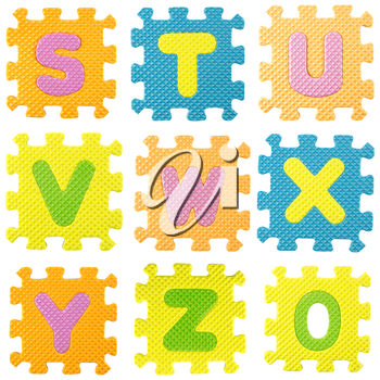 set of letters created from Alphabet puzzle isloated on white background , with clipping path.