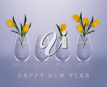New year 2014 Calendar with conceptual image of yellow tulips in glass vases, the same concept available for 2015, 2016 and 2017 year.