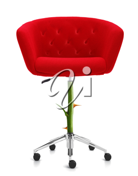 Red Chair with rose stem and thorn, clipping path and alpha channel included.