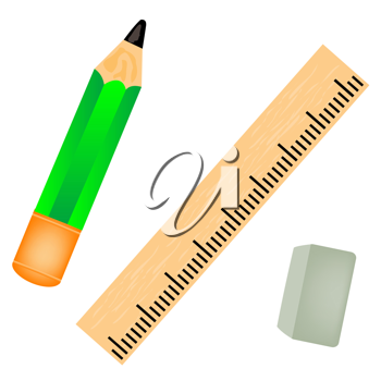 Royalty Free Clipart Image of a Pencil, Ruler and Eraser
