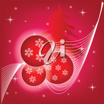 Royalty Free Clipart Image of a Tree and Christmas Ornament Background