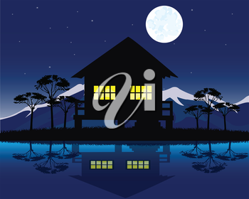 Night landscape with house beside yard.House on nature