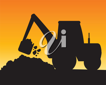 Silhouette of the excavator digging ground.Vector illustration