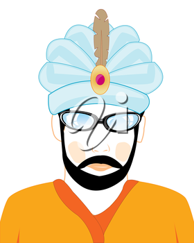 The Portrait men in hat of the sultan.Vector illustration