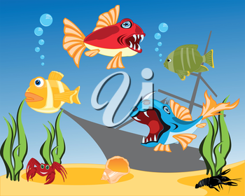 Vector illustration of tropical fish and bottom of the ocean