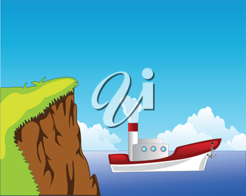 The Steep coast and white steamship seaborne.Vector illustration