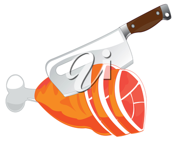 The Knife for chopping of meat and ham animal.Vector illustration