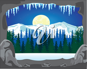 The Big cave in winter in wood in the night.Vector illustration