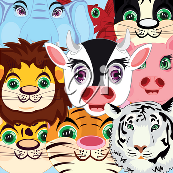 Cartoons ensemble home and wildlifes.Vector illustration animal