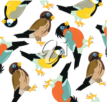Decorative pattern from birds on white background is insulated