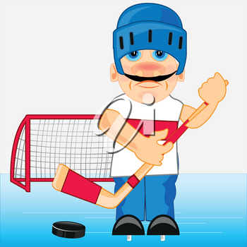 Man hockey player in send and with hockey stick on stadium