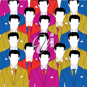 Crowd of the mans in varicoloured suit and tie