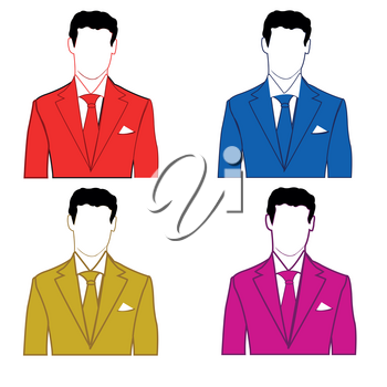 Silhouettes of the mans in suit of the miscellaneous of the colour on white background