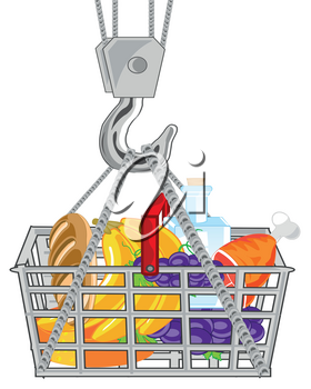 Vector illustration of the shop basket pervaded product feeding