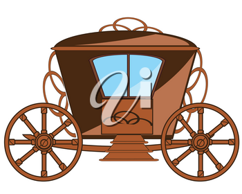 Vector illustration of the cartoon of the old antique coach