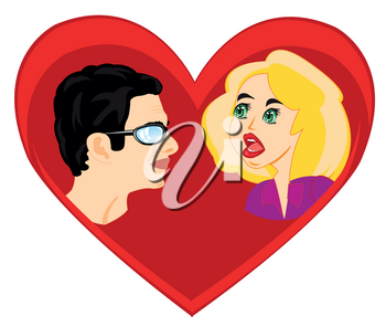 Mans and woman on background red heart