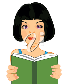Vector illustration of the girl with book in hand