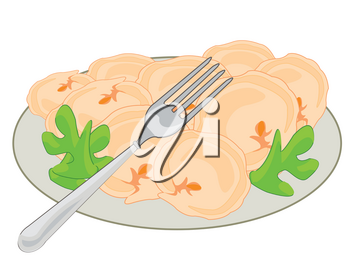 Meat dumplings on plate decorated by verdure and fork