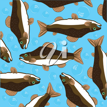 Fish salmon decorative pattern on turn blue background is insulated