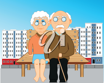 Big city and bench with elderly people