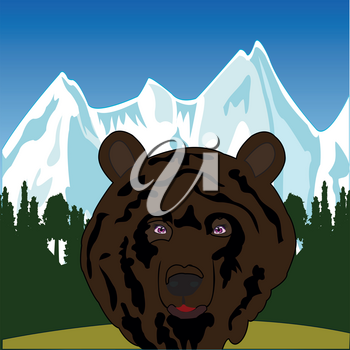 Head animal bear and landscape of the mountains with wood