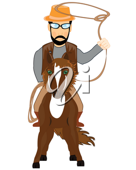 Cartoon cowpuncher with lasso on white background is insulated