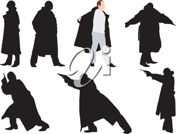 Royalty Free Clipart Image of a Silhouette Gangsters