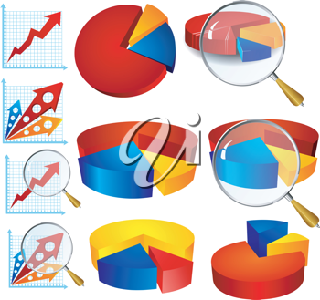 Royalty Free Clipart Image of Colourful Diagrams Pertaining to Business Growth With Magnifying Glasses