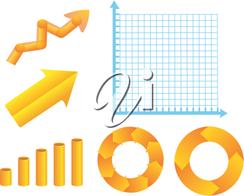 Royalty Free Clipart Image of a Graphing Diagram With Yellow Icon Symbols Representing Growth