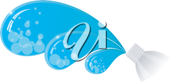 Royalty Free Clipart Image of a Bottle of Water with the Water Splashing out