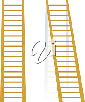 Royalty Free Clipart Image of Two Wooden Ladders Leaning on a White Wall