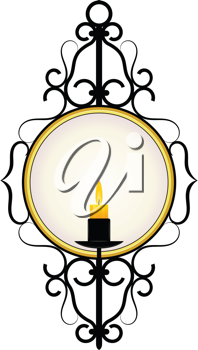Royalty Free Clipart Image of a Wall Mounted Mirror Decorated With a Burning Candle and Wrought Iron Design