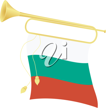 Royalty Free Clipart Image of a Bugle With an Bulgarian Flag