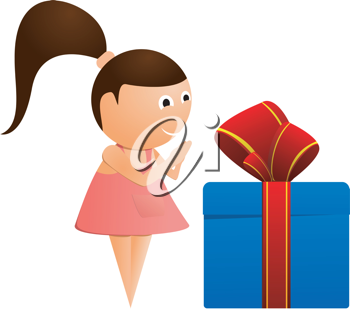 Royalty Free Clipart Image of a Young Girl with a Gift
